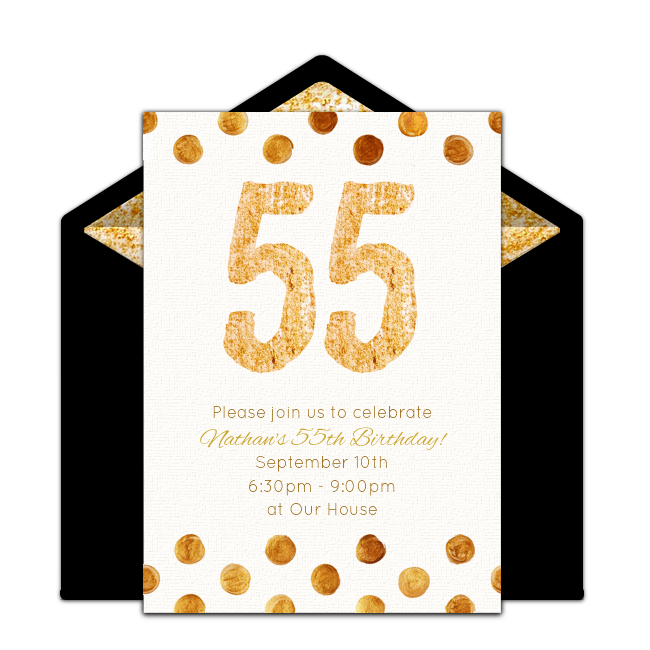 Free Golden 55 Invitations.