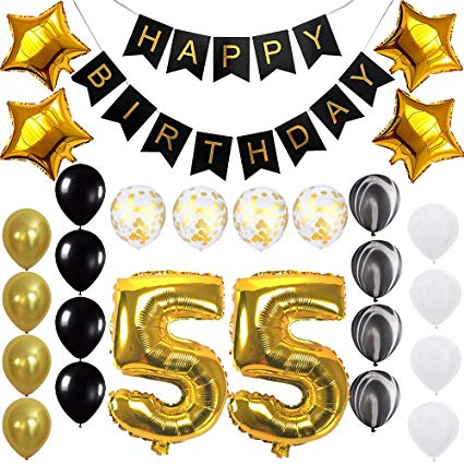Happy 55th Birthday Banner Balloons Set for 55 Years Old Birthday Party  Decoration Supplies Gold Black.