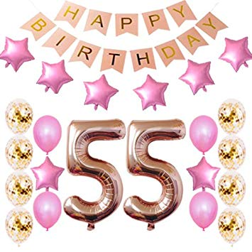55th Birthday Decorations Party Supplies Happy 55th Birthday Confetti  Balloons Banner and 55.