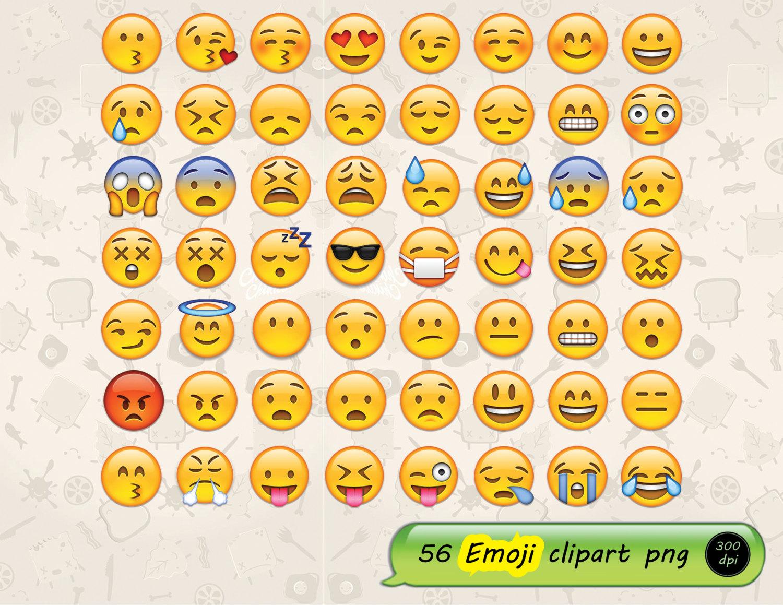 56 Emoji clipart instant download digital file PNG.