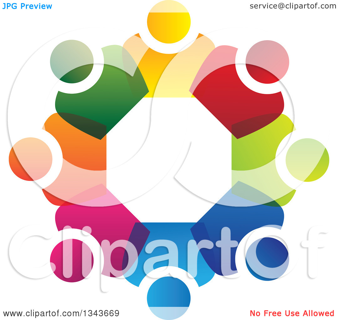 Clipart of a Teamwork Unity Circle of Colorful People 56.