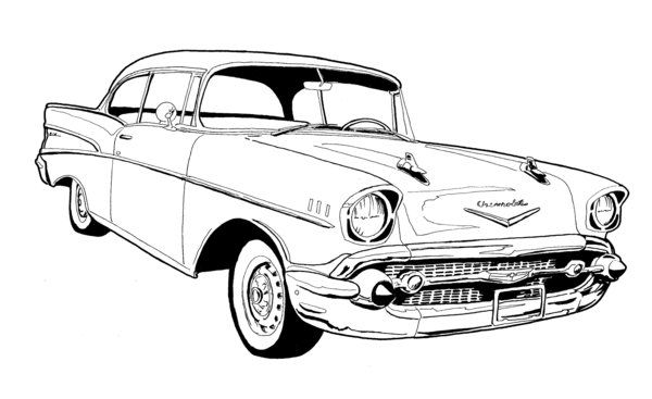 57 Chevy Bel Air Drawing.