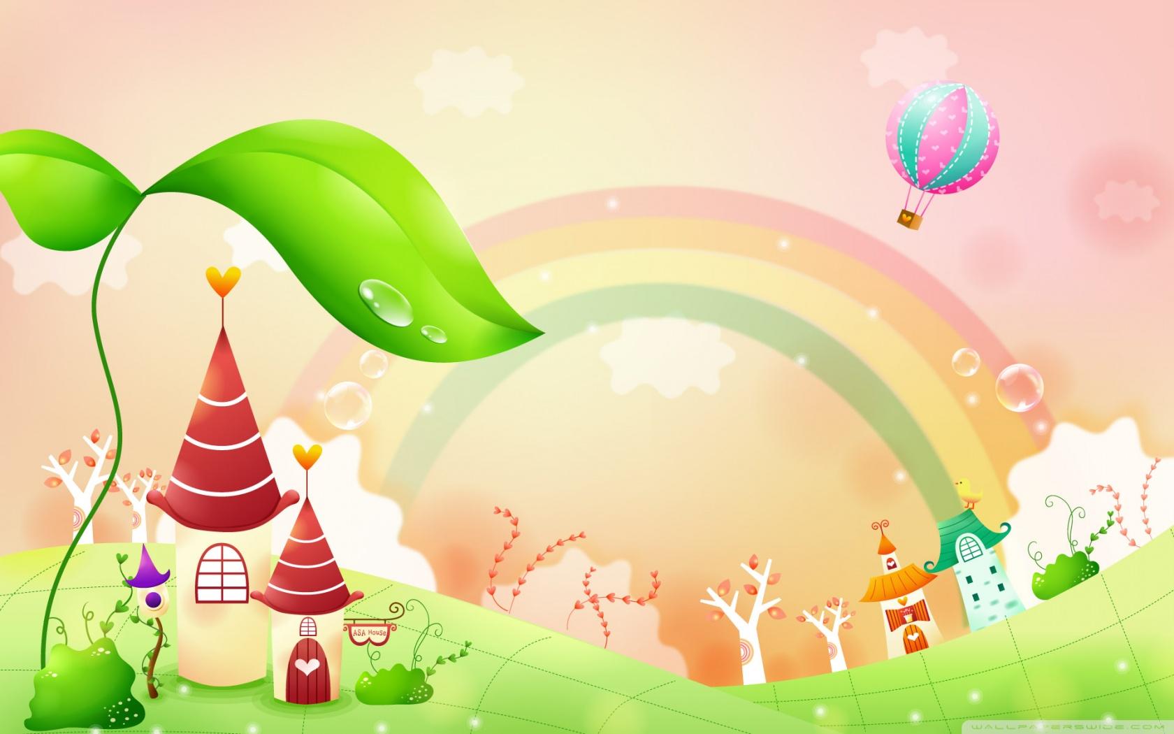 Spring Landscape With Rainbow 1 HD desktop wallpaper : Widescreen.