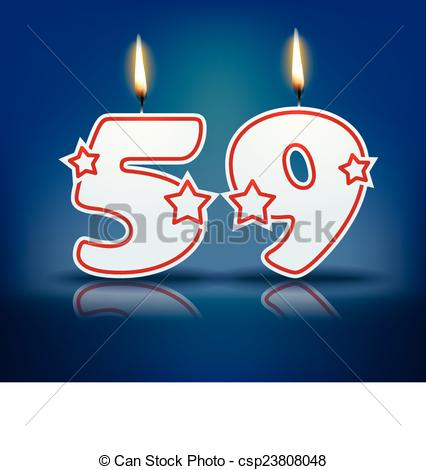 EPS Vector of Birthday candle number 59.