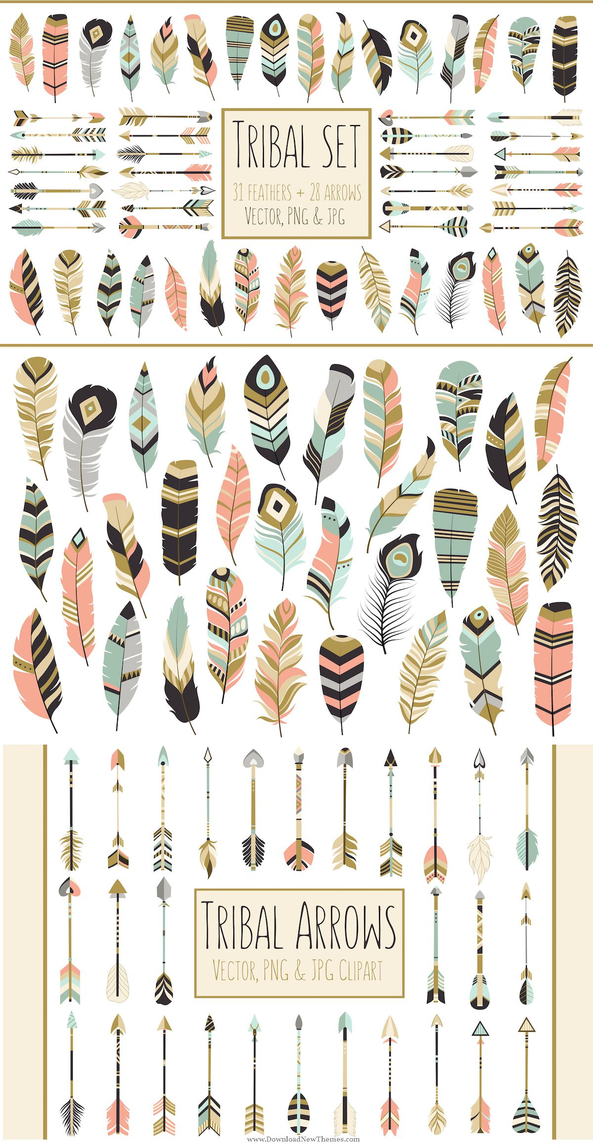 59 Arrows & Feathers Tribal Clipart.