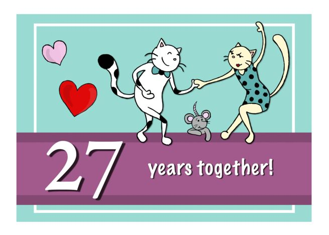 Happy 27th Wedding Anniversary, Two cats dancing card in.