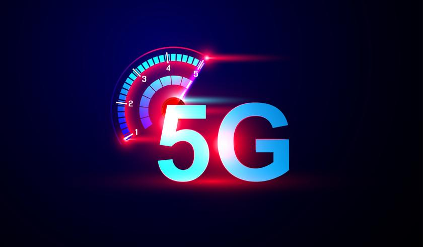 5G network internet logo with speed meter Vector..