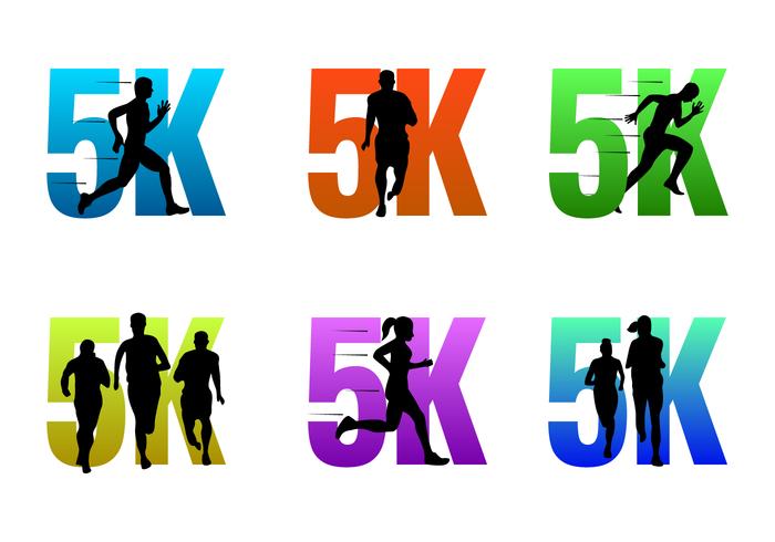 5K Running Vector Logos.