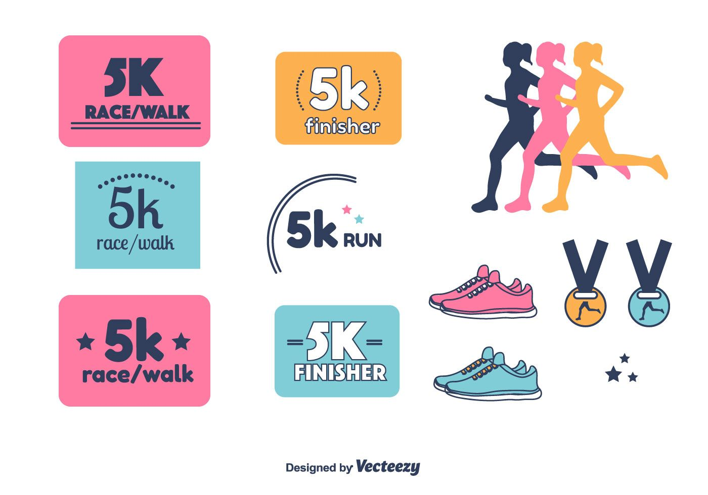 Collection set of 5k run, walk, race icons. Easy to edit.