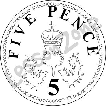 United Kingdom, 5p coin B&W.