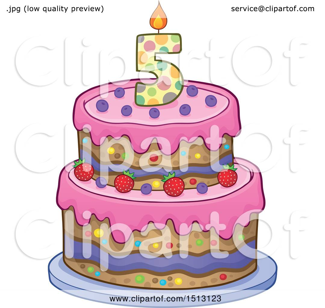 Clipart of a Layered Fifth Birthday Party Cake.