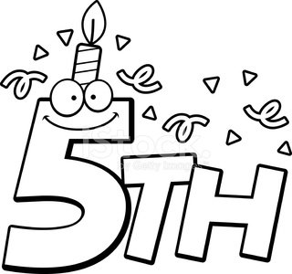 Cartoon 5th Birthday Clipart Image.