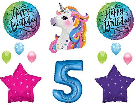Amazon.com: Blue 5th Neon RAINBOW UNICORN Happy Birthday.
