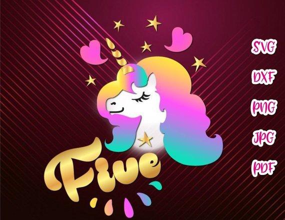 Five Unicorn SVG 5th Birthday Face Head Year Invitation Outfit Word Print  Tshirt.