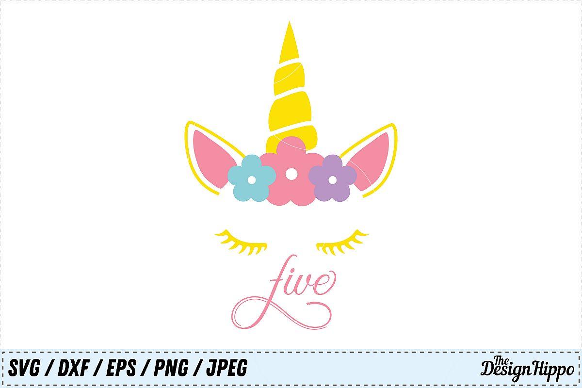 Unicorn SVG, 5th Birthday SVG, Fifth Birthday PNG, Cut Files.