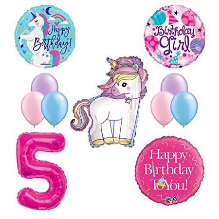 Unicorn 5th Birthday Girl Party Supplies and Balloon Decorations.
