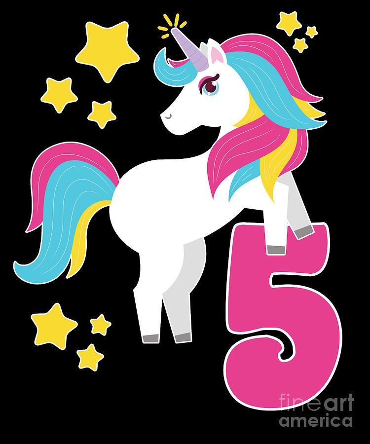 5th Birthday Girl Unicorn I Am 5 Gift.