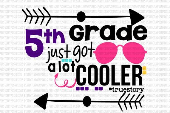 Back to School svg 5th grade School T shirt Clip Art Vinyl Teachers Cutting  Files for Cricut Design Space and Silhouette Cameo.