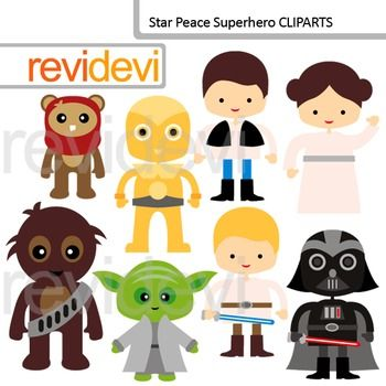 Cute Superhero Clip Art: Star Wars inspired digital clipart.