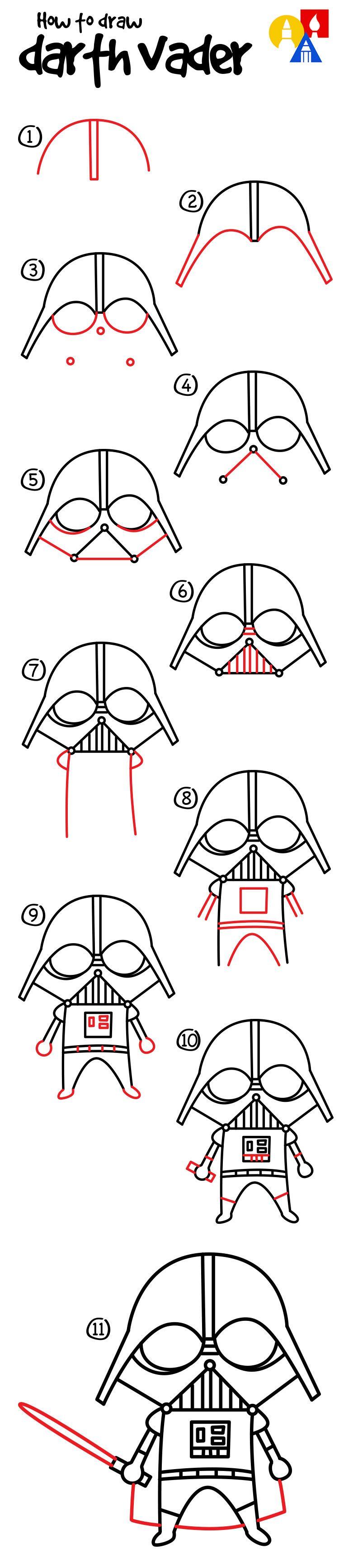 How To Draw A Cartoon Darth Vader.