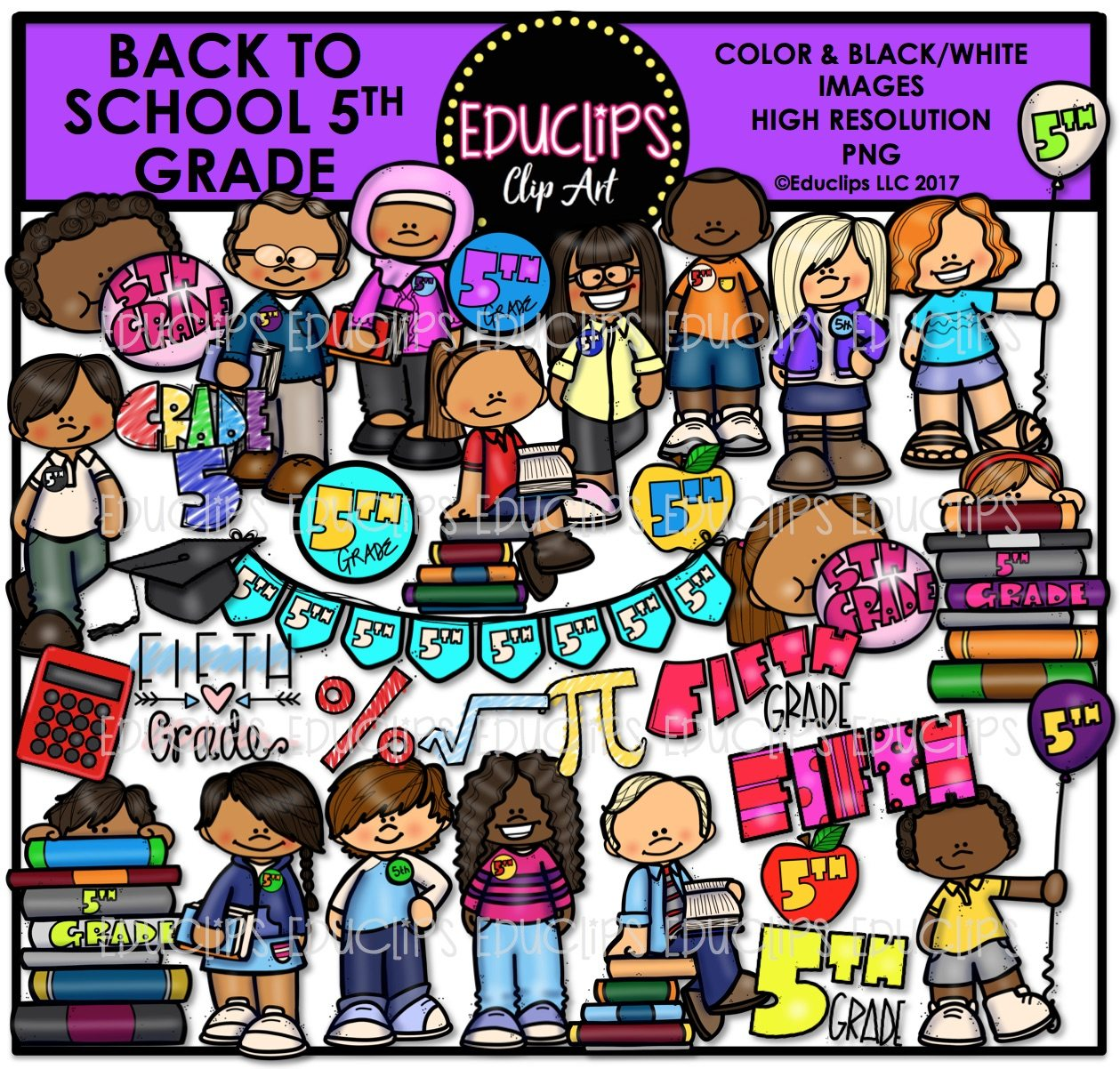 Back To School Fifth Grade Clip Art Bundle (Color and B&W).