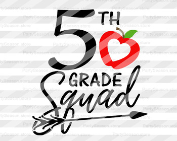 Fifth grade squad svg 5th grade svg School clipart Teacher tribe svg.
