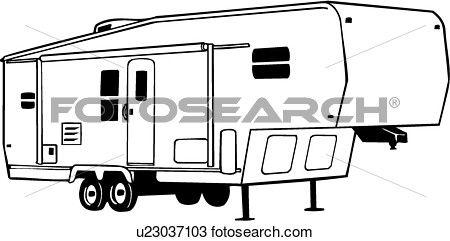 Fifth Wheel Camper Clip Art Sketch Coloring Page.