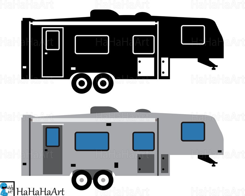 Fifth Wheel Camper Cutting Files Digital files svg jpg png dxf Vinyl  Personal commercial use Instant Download Design van car 01115c.