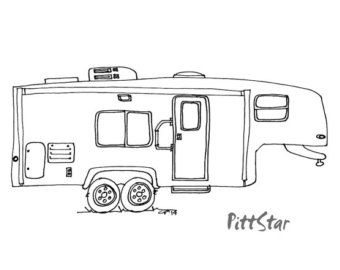 Coloring Pages Of 5th Wheel Camper Trailers Sketch Coloring Page.