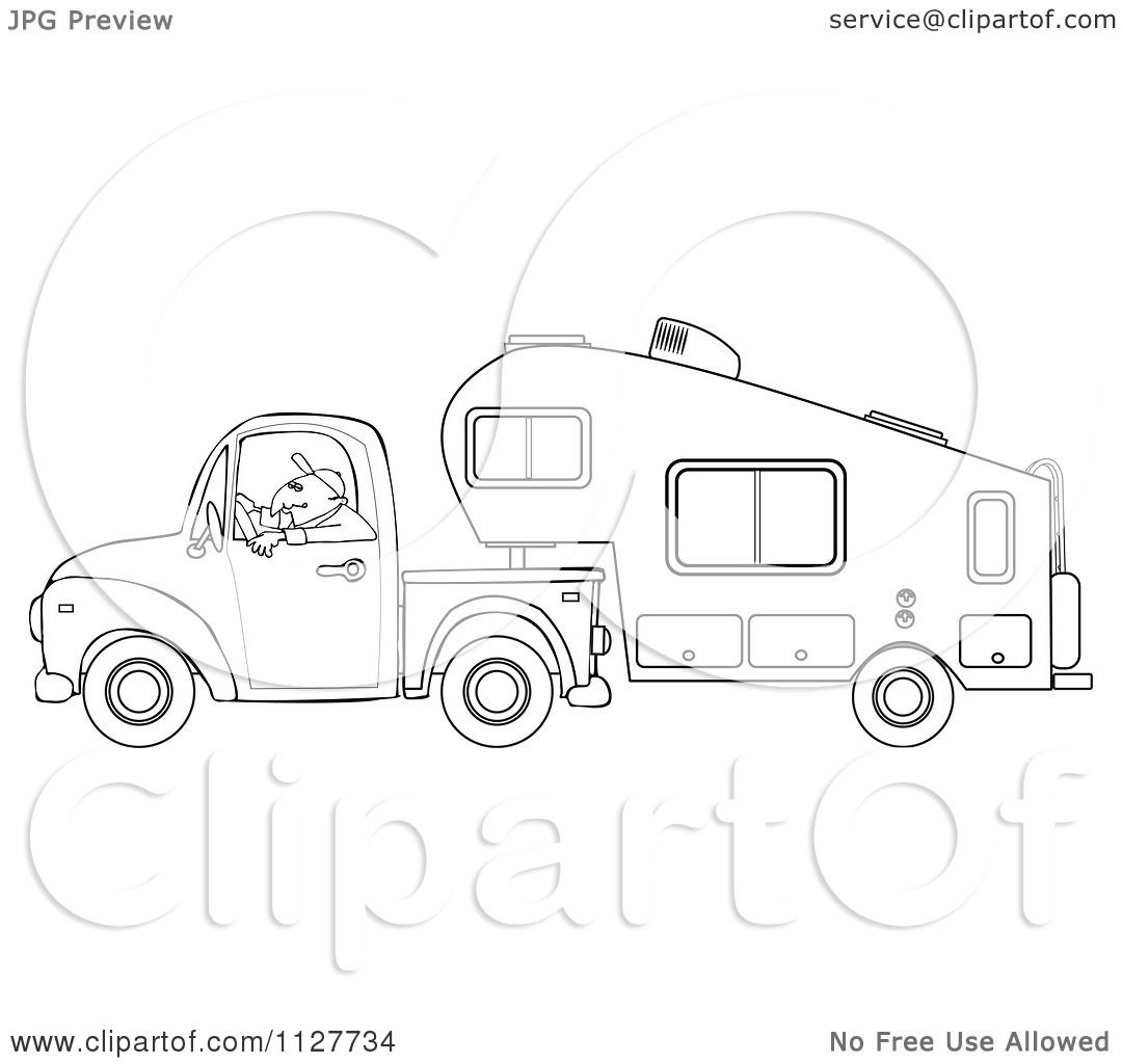 Cartoon Of An Outlined Man Driving A Pickup With A 5th Wheel Camper.