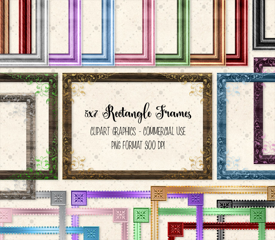 5x7 Rectangle Frames Clipart.