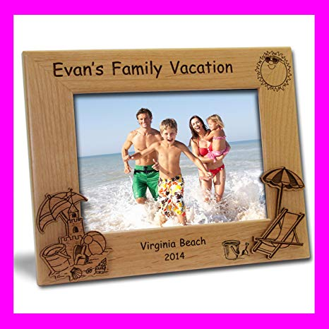 Personalized Custom Engraved 5x7 Beach Vacation Picture Frame.