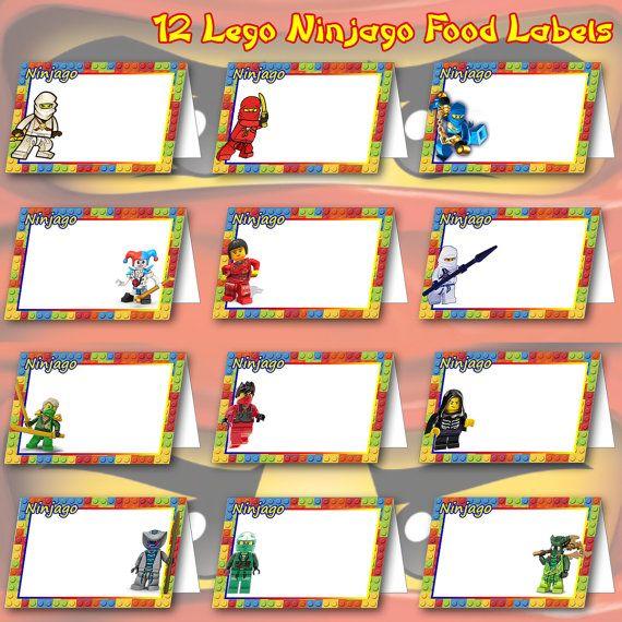 12 LEGO Ninjago Food Labels Digital Clipart Frames by DigiPi.
