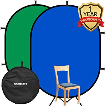 Hakutatz 5\'x 7\' Collapsible Reversible Chromakey Pop Out Muslin Blue Green  Backdrop Background 2 in 1 Backdrop Panel Photography Photo Background.