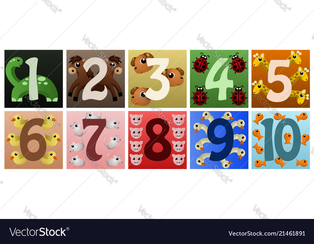 Numbers with cute animals.