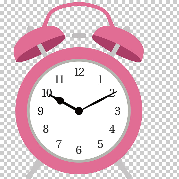 Alarm clock Wall decal Illustration, Pink alarm clock PNG.