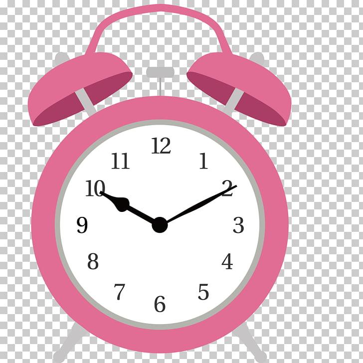 Alarm clock Wall decal Illustration, Pink alarm clock PNG.