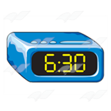 Blue Alarm Clock, showing 6:30.