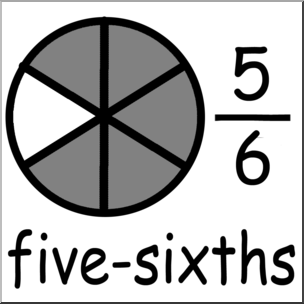 Clip Art: Labeled Fractions: 06 5/6 Five Sixths Grayscale I.