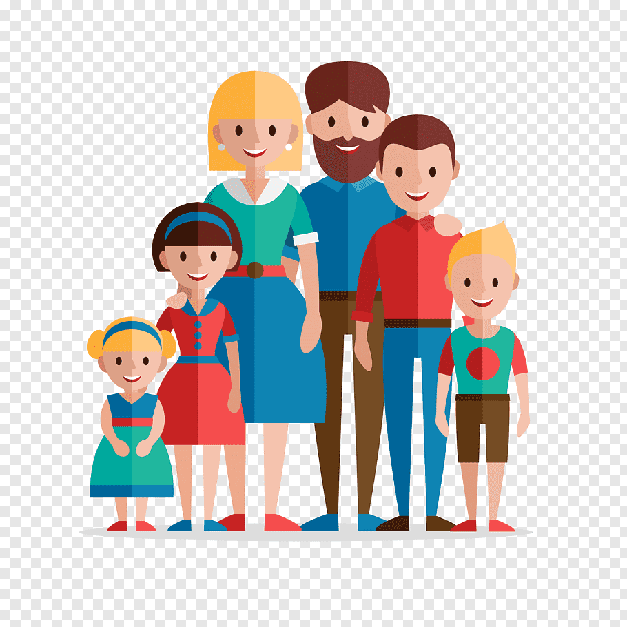 Family of 6 animated, Family Home Evening Flat design.