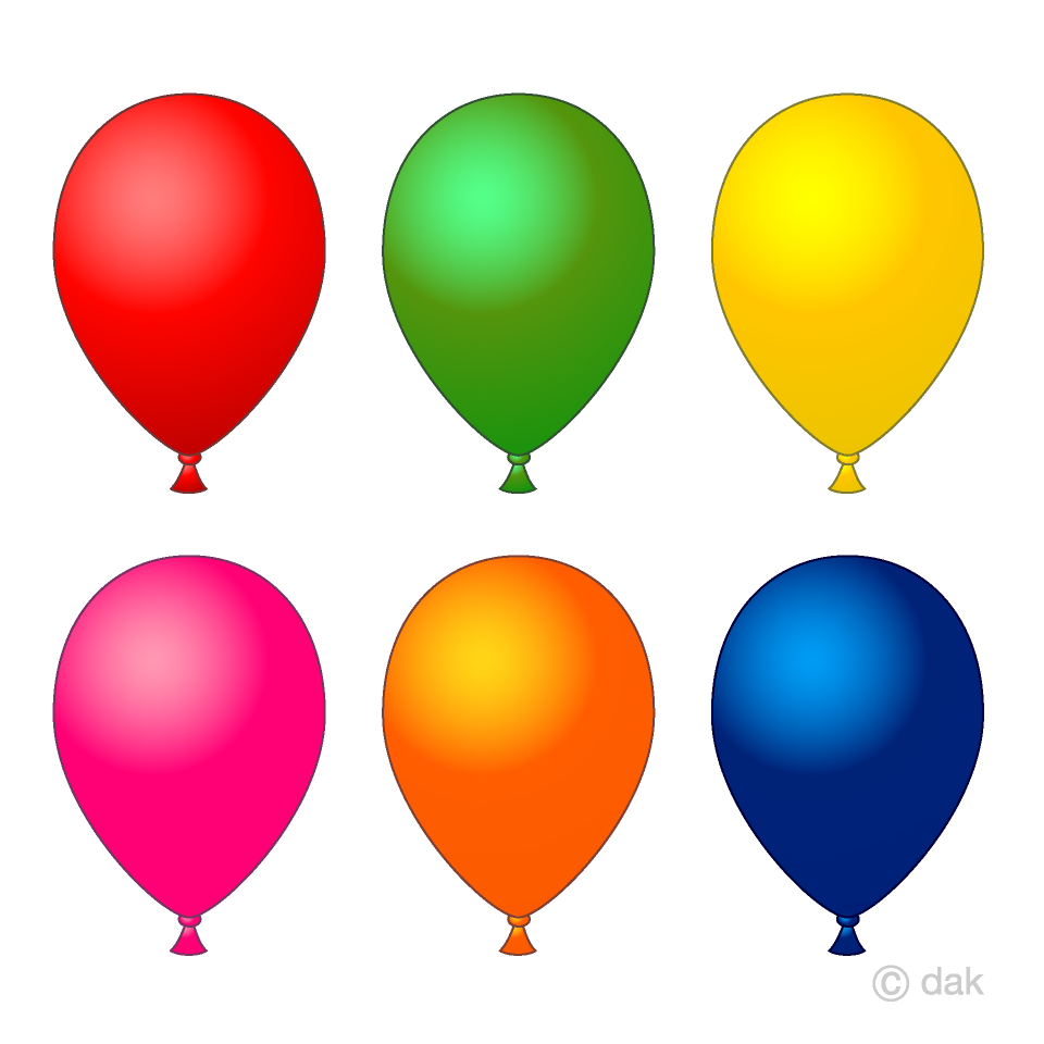 Free 6 color balloons Clipart Image|Illustoon.