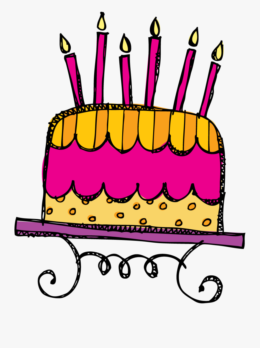 Birthday Cake 6 Candles , Free Transparent Clipart.