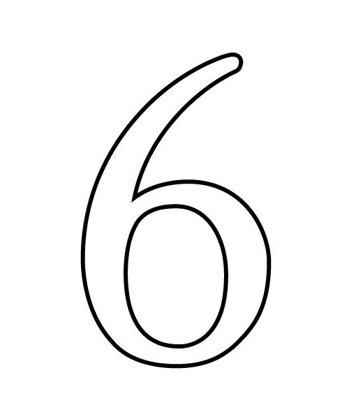 Number Six Clipart Black And White.