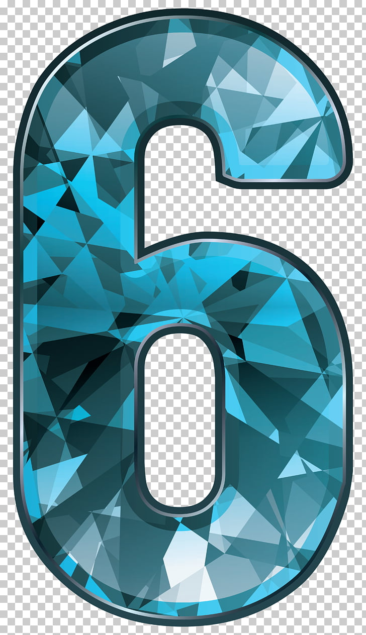 Number Numerical digit , Blue Crystal Number Six , teal and.