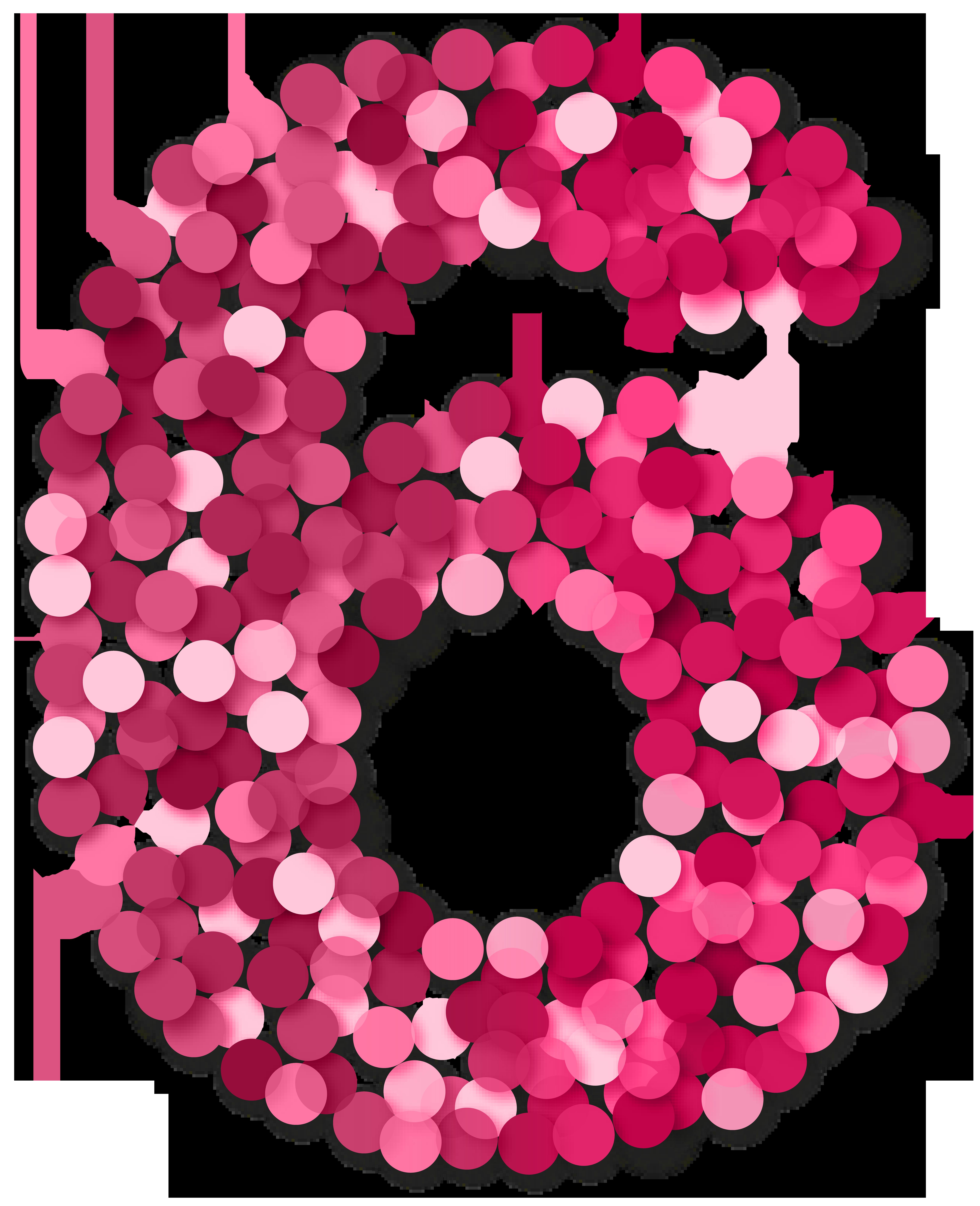 Six 6 Number Pink PNG Clip Art.