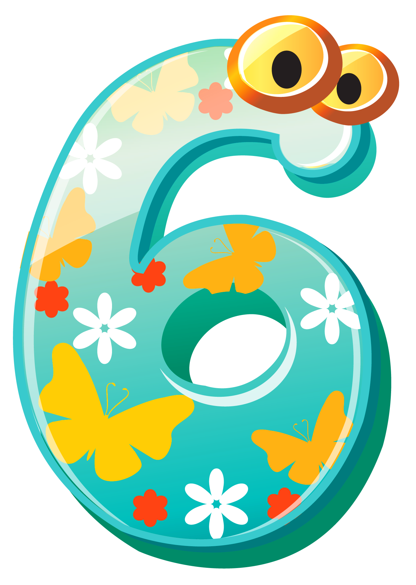 Cute Number Six PNG Clipart Image.