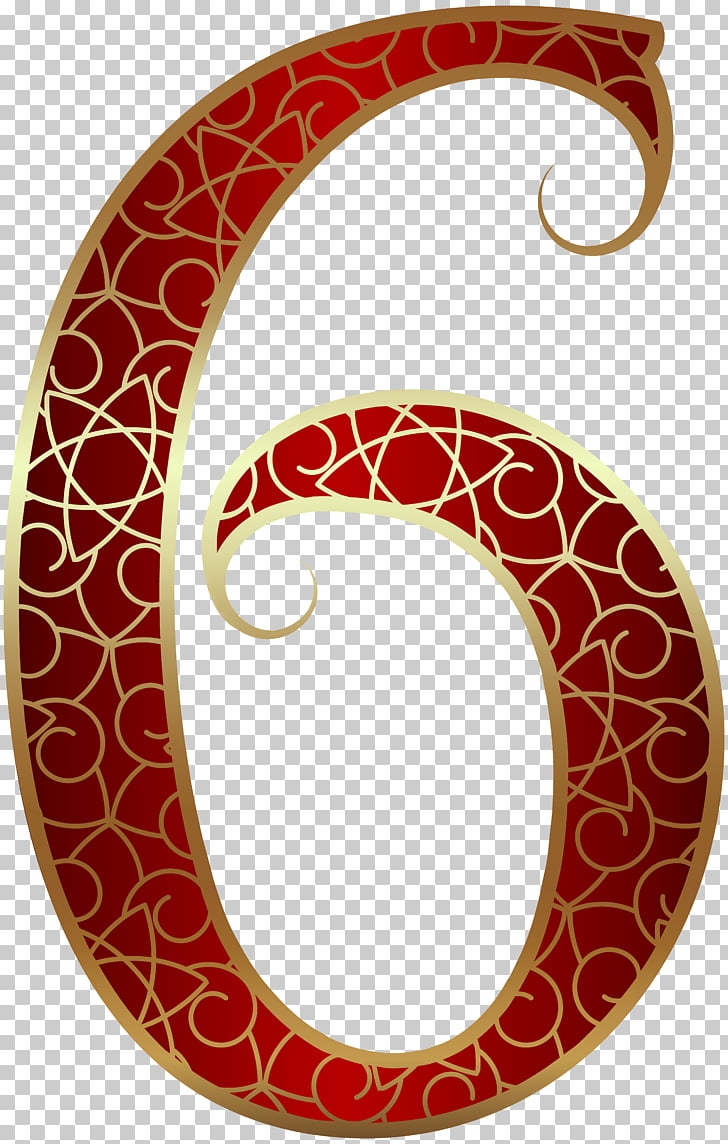 Number , Gold Red Number Six , red and gold 6 PNG clipart.