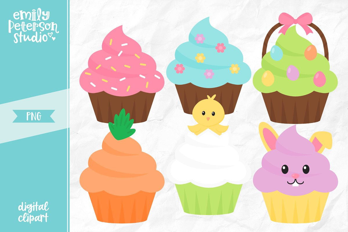 Easter Cupcakes Clipart.