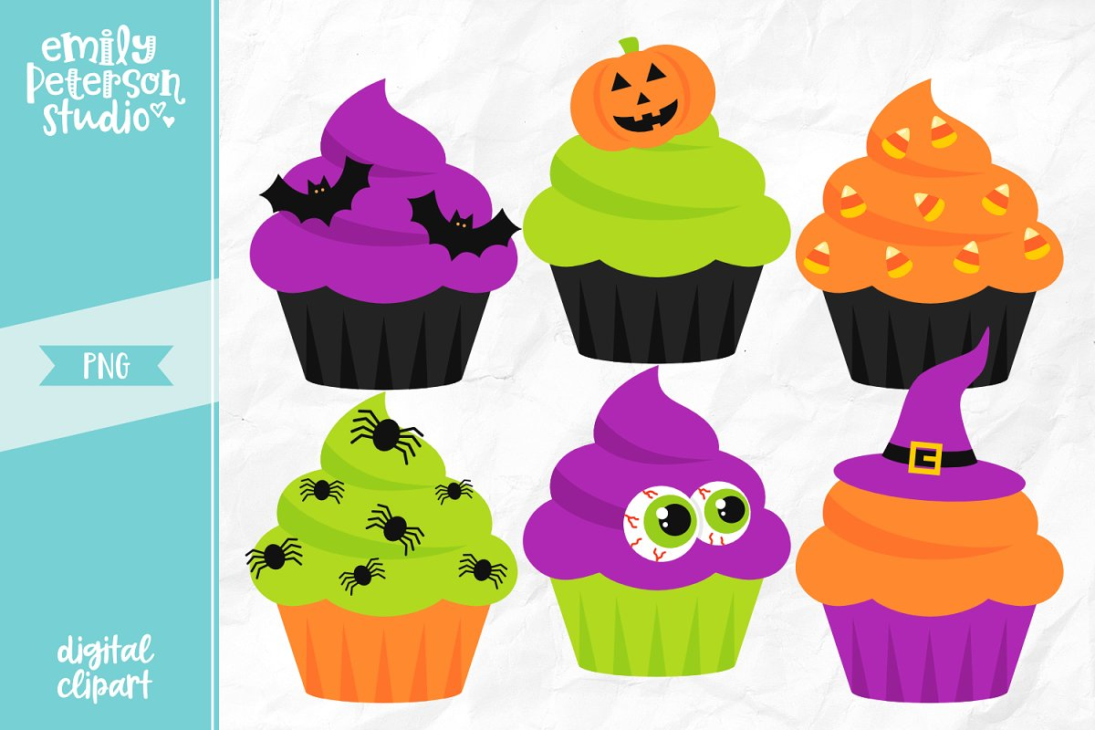 Halloween Cupcakes Clipart.