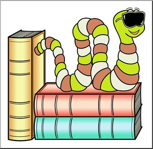 Clip Art: Cartoon Bookworm 6 Color 2.